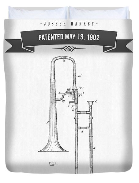 1902 Trombone Patent Drawing Duvet Cover by Aged Pixel
