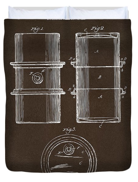Duvet Cover featuring the drawing 1905 Oil Drum Patent Artwork Espresso by Nikki Marie Smith