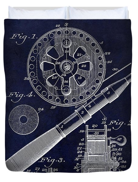 1906 Fishing Reel Patent Drawing Blue Duvet Cover by Jon Neidert