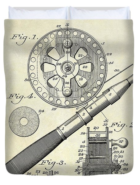 1906 Fishing Reel Patent Drawing Duvet Cover