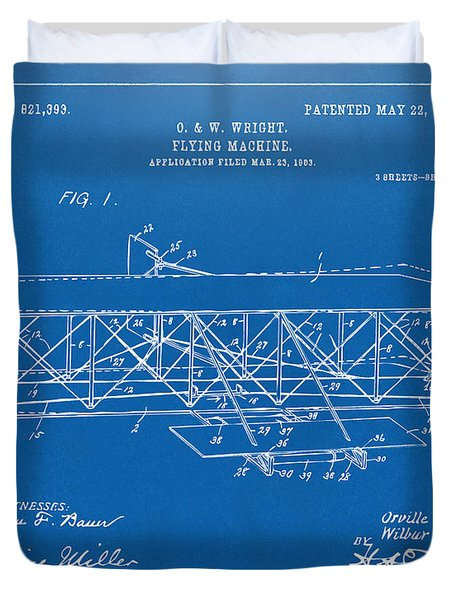 1906 Wright Brothers Flying Machine Patent Blueprint Duvet Cover