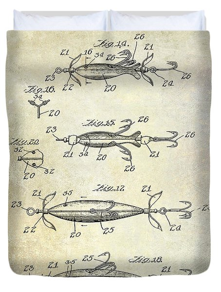 1907 Fishing Lure Patent Duvet Cover by Jon Neidert