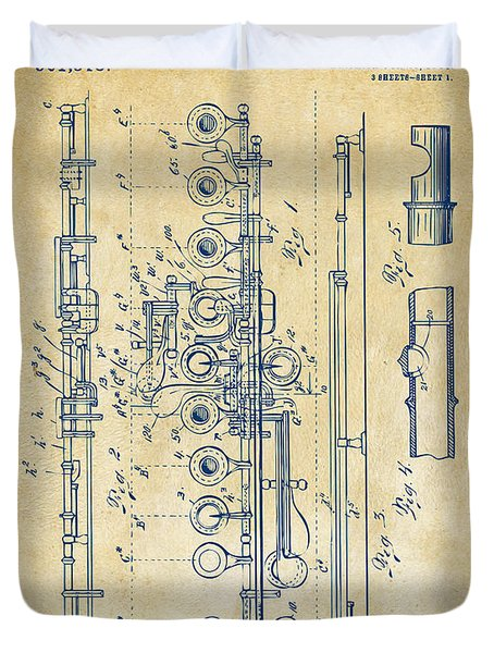 Duvet Cover featuring the digital art 1908 Flute Patent - Vintage by Nikki Marie Smith