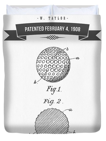 1908 Taylor Golf Ball Patent Drawing - Retro Gray Duvet Cover by Aged Pixel