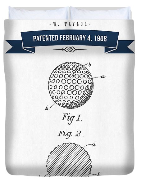 1908 Taylor Golf Ball Patent Drawing - Retro Navy Blue Duvet Cover by Aged Pixel