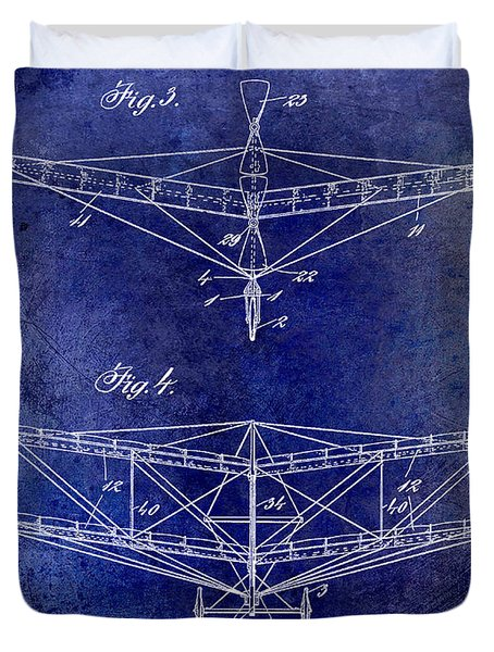 1909 Flying Machine Patent Drawing Blue Duvet Cover