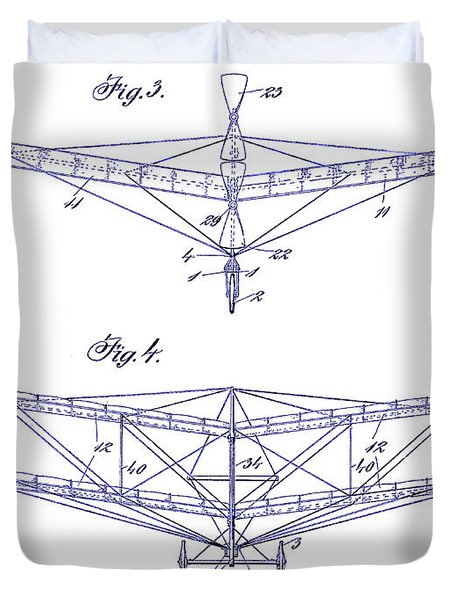 1909 Flying Machine Patent Drawing Blueprint Duvet Cover