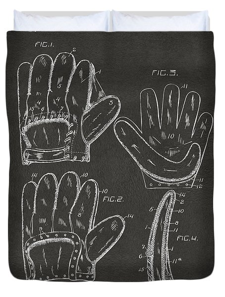 1910 Baseball Glove Patent Artwork - Gray Duvet Cover by Nikki Marie Smith