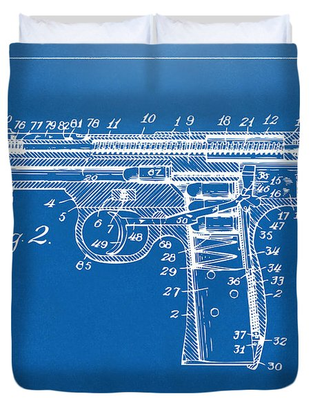 1911 Automatic Firearm Patent Minimal - Blueprint Duvet Cover