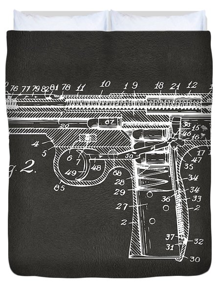 1911 Automatic Firearm Patent Minimal - Gray Duvet Cover
