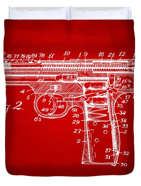1911 Automatic Firearm Patent Minimal - Red Duvet Cover