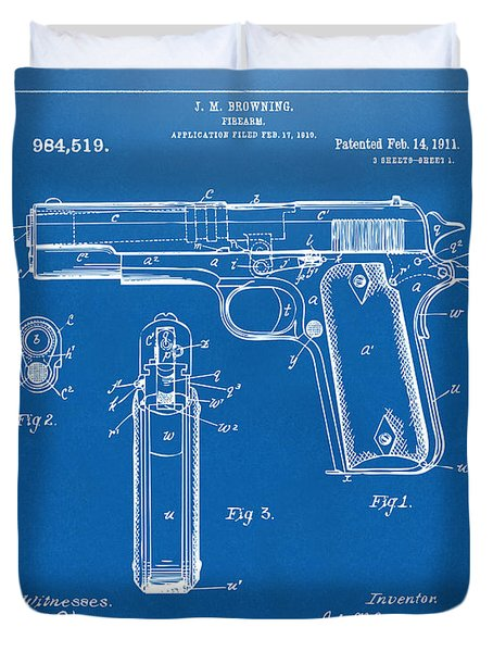 1911 Colt 45 Browning Firearm Patent Artwork Blueprint Duvet Cover