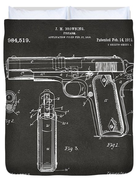 1911 Browning Firearm Patent Artwork - Gray Duvet Cover