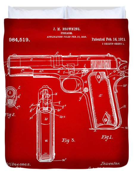 1911 Colt 45 Browning Firearm Patent Artwork Red Duvet Cover