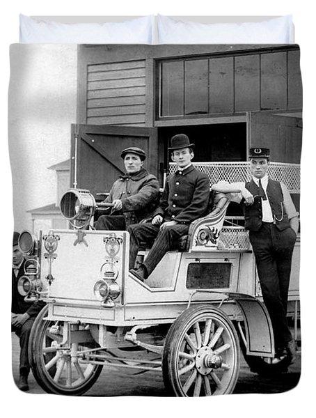 1911 Fire Wagon Duvet Cover