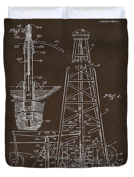 Duvet Cover featuring the drawing 1911 Oil Drilling Rig Patent Artwork - Espresso by Nikki Marie Smith