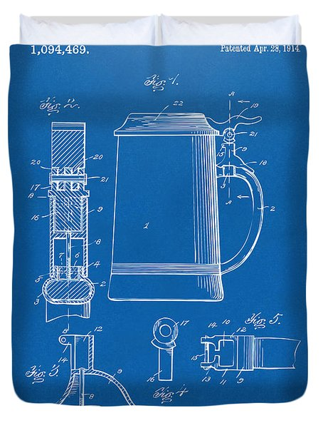1914 Beer Stein Patent Artwork - Blueprint Duvet Cover by Nikki Marie Smith