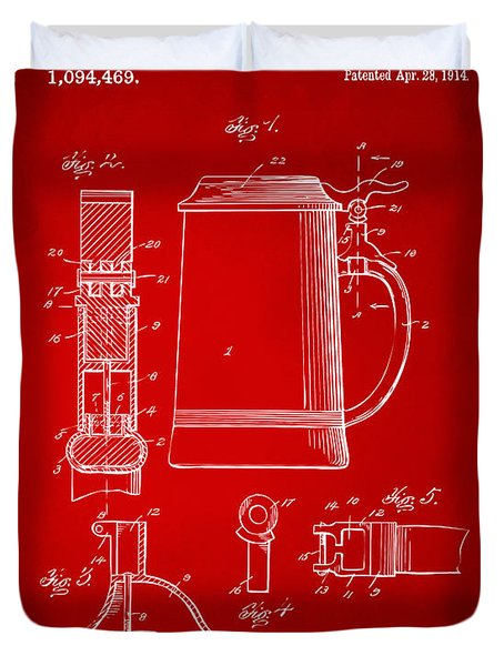 1914 Beer Stein Patent Artwork - Red Duvet Cover by Nikki Marie Smith