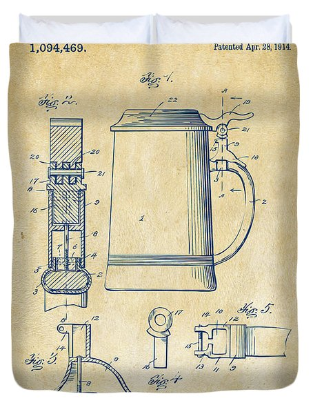 1914 Beer Stein Patent Artwork - Vintage Duvet Cover by Nikki Marie Smith
