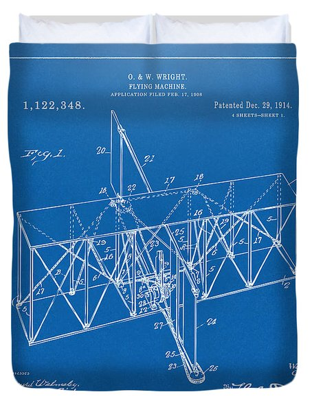 Duvet Cover featuring the drawing 1914 Wright Brothers Flying Machine Patent Blueprint by Nikki Marie Smith