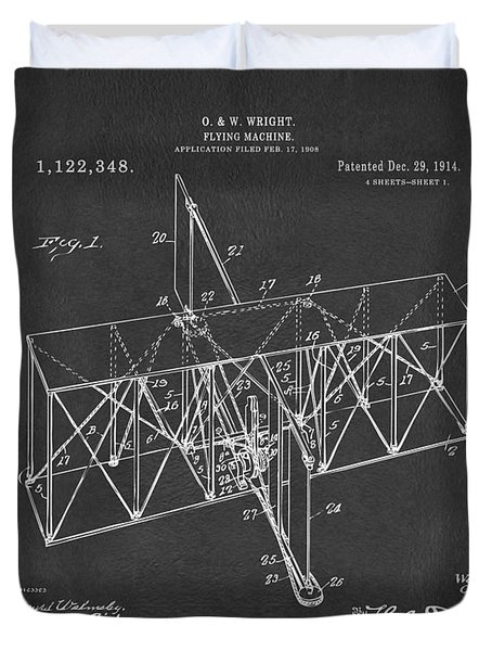 Duvet Cover featuring the drawing 1914 Wright Brothers Flying Machine Patent Gray by Nikki Marie Smith