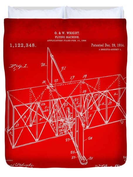 Duvet Cover featuring the drawing 1914 Wright Brothers Flying Machine Patent Red by Nikki Marie Smith