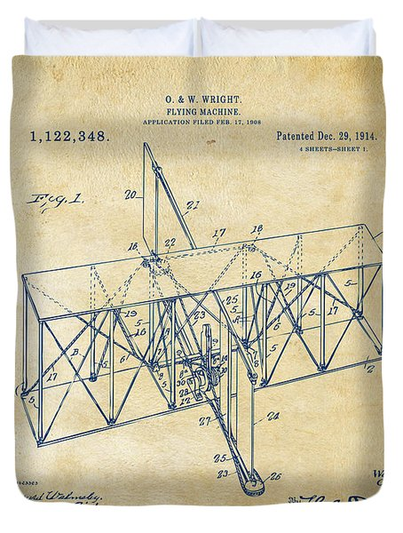 Duvet Cover featuring the drawing 1914 Wright Brothers Flying Machine Patent Vintage by Nikki Marie Smith