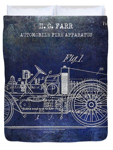 1916 Automobile Fire Apparatus Patent Drawing Blue Duvet Cover