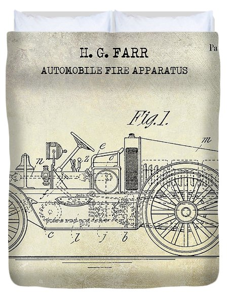 1916 Automobile Fire Apparatus Patent Drawing Duvet Cover