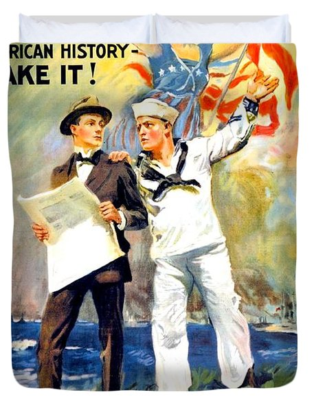 1917 - United States Navy Recruiting Poster - World War One - Color Duvet Cover