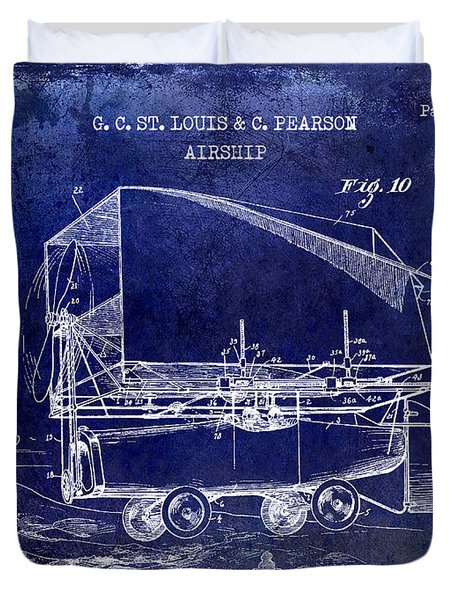 1919 Airship Patent Drawing Blue Duvet Cover
