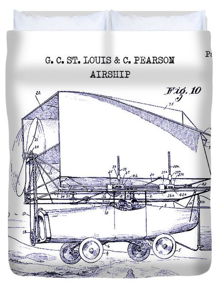 1919 Airship Patent Drawing Blueprint Duvet Cover