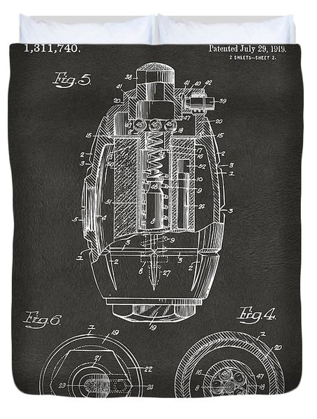 1919 Hand Grenade Patent Artwork - Gray Duvet Cover