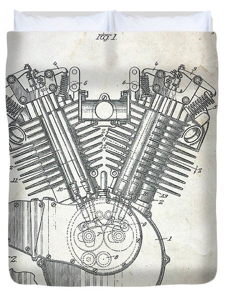 1919 Harley Davidson Engine  Duvet Cover by Paul Ward