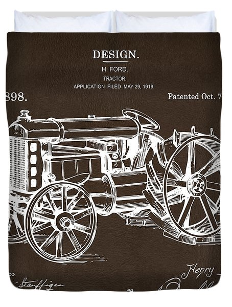 Duvet Cover featuring the drawing 1919 Henry Ford Tractor Patent Espresso by Nikki Marie Smith