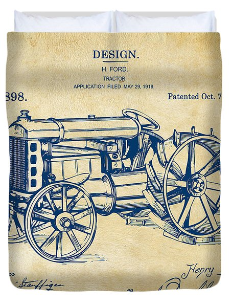 1919 Henry Ford Tractor Patent Vintage Duvet Cover