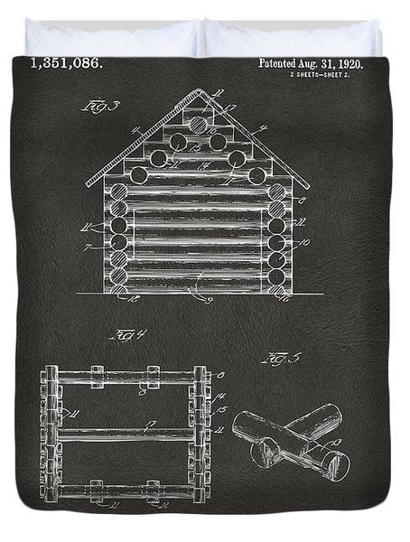 1920 Lincoln Log Cabin Patent Artwork - Gray Duvet Cover