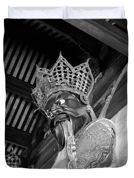 1920s 1930s Fierce Looking Statue Duvet Cover