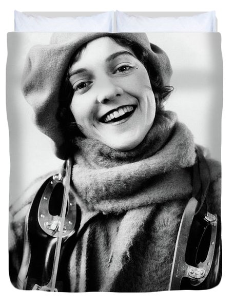 1920s 1930s Smiling Woman Dressed Duvet Cover