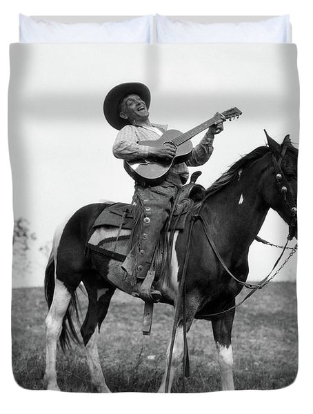 1920s Cowboy On Horse Singing & Playing Duvet Cover