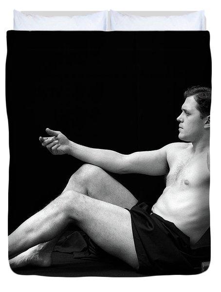 1920s Man Semi Nude Classical Pose Duvet Cover