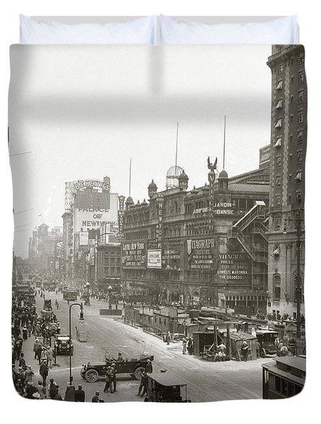 1920s Overhead Sixth Avenue Hippodrome Duvet Cover