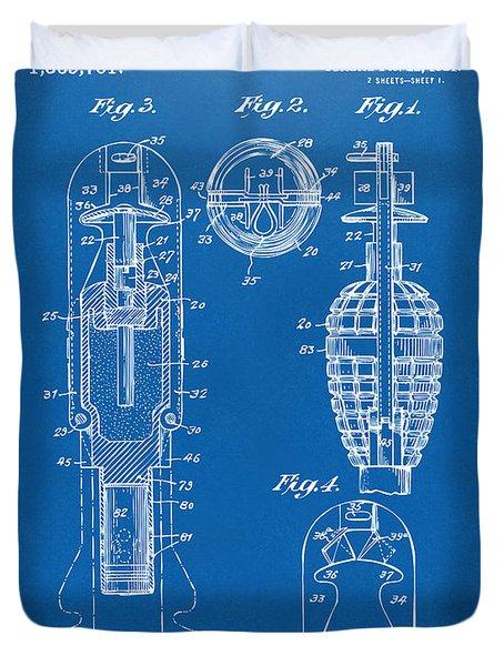 1921 Explosive Missle Patent Blueprint Duvet Cover by Nikki Marie Smith