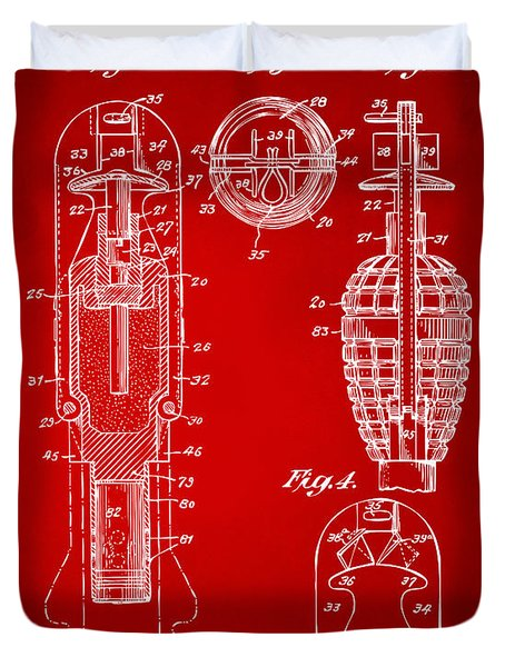 1921 Explosive Missle Patent Minimal Red Duvet Cover by Nikki Marie Smith