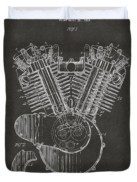 1923 Harley Engine Patent Art - Gray Duvet Cover