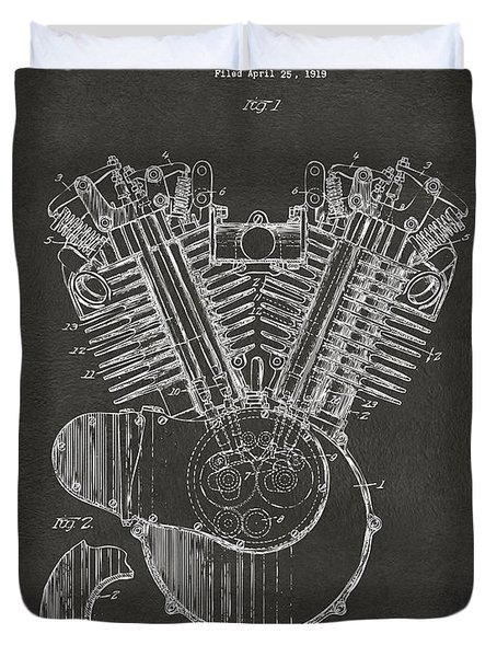 Duvet Cover featuring the digital art 1923 Harley Engine Patent Art - Gray by Nikki Marie Smith