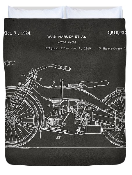 1924 Harley Motorcycle Patent Artwork - Gray Duvet Cover