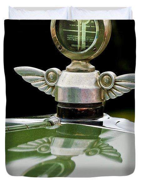 1927 Chandler 4-door Hood Ornament Duvet Cover by Jill Reger
