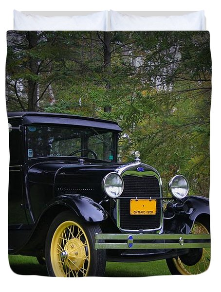 1928 Ford Model A Tudor Duvet Cover by Davandra Cribbie