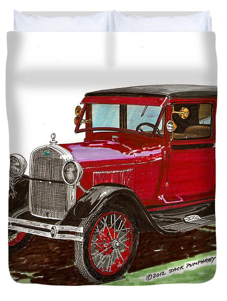 1928 Ford Model A Two Door Duvet Cover by Jack Pumphrey